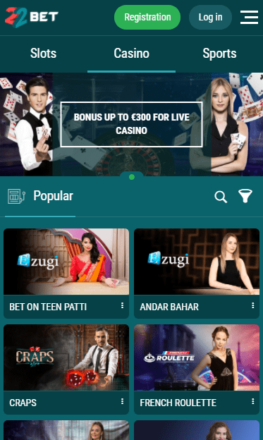 Mobile Version 22 Bet Casino